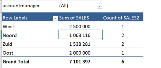 Report filter pivot table